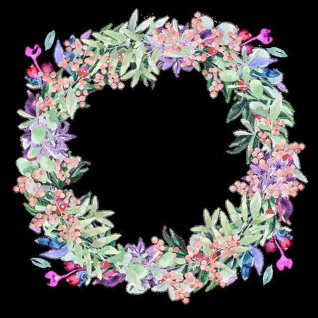 Wreath, Watercolor, Floral, Berries, Spring, Flowers
