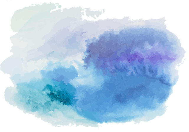 Watercolour, Turquoise, Blue, Violet, Cloudy, Brush