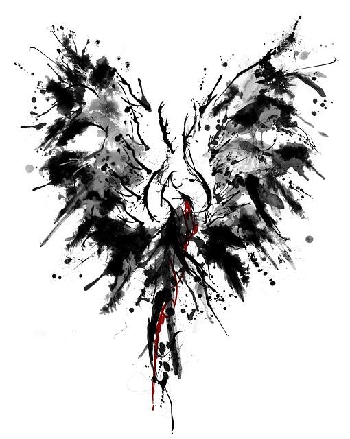 Phoenix, Ink, Tattoo, Wing, Watercolour, Drawing