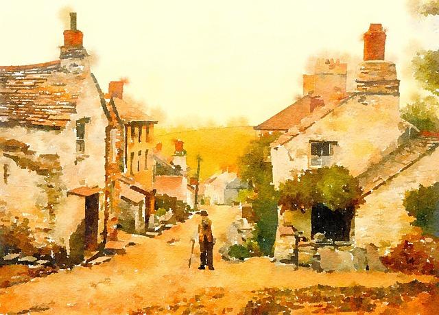 Watercolour, Watercolor, Painting, Scene, View
