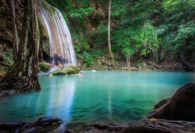 Waterfall, Erawan Waterfall National Park, Rock, Summer