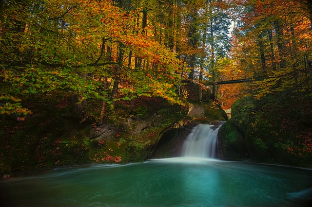 Autumn, Long Exposure, Waterfall, Bergsee, Golden
