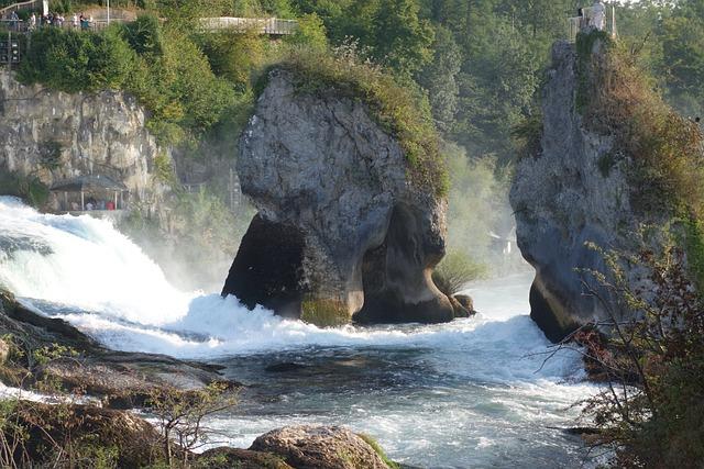 Rhine Falls, Germany, Waterfall, River, Rock, Water