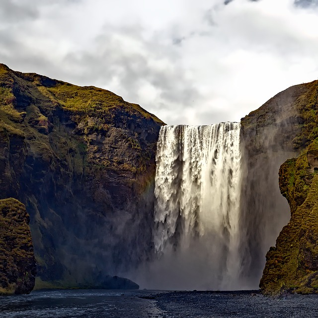Iceland, Waterfall, Falls, Stream, River, Water