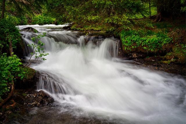 Waterfall, Water, River, Stream, Nature