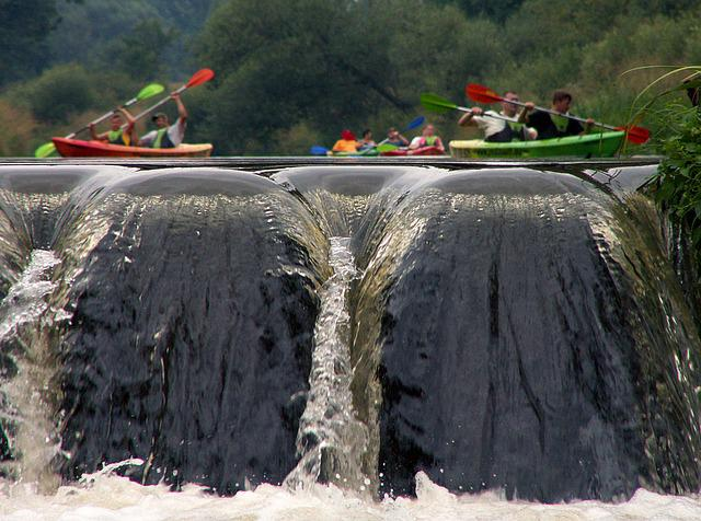 Waterfall, I With, Kayaks, Rafting, Water, Kajakować