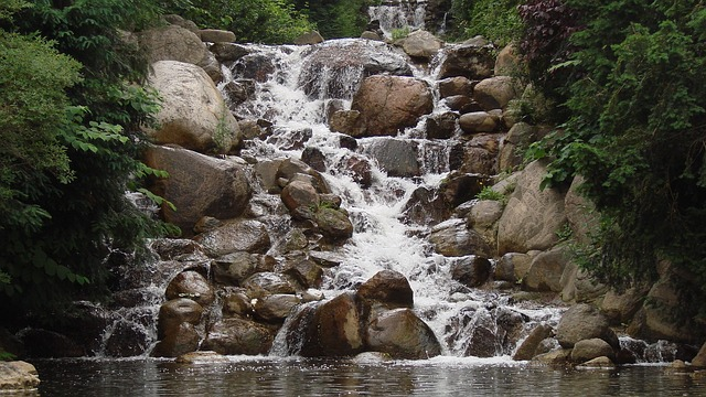 Nature, Stones, Trees, Water, Waterfall