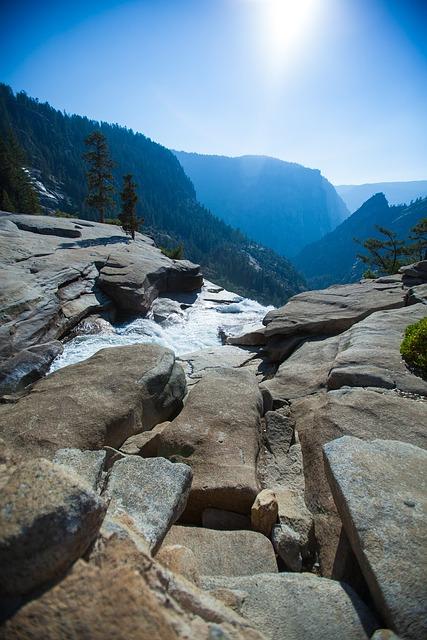 Yosemite, Mountains, Forest, Waterfall