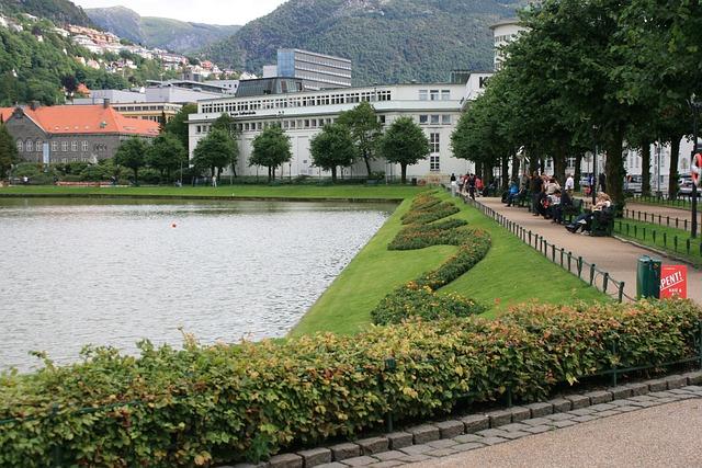 Bergen, Town, Center, Waterfront, Garden, Landscape