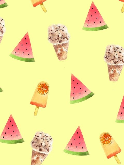 Cone, Ice Cream, Watermelon, Pattern, Summer, Sweet