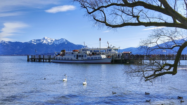 Waters, Travel, Nature, Sky, Landscape, Chiemsee, Ship