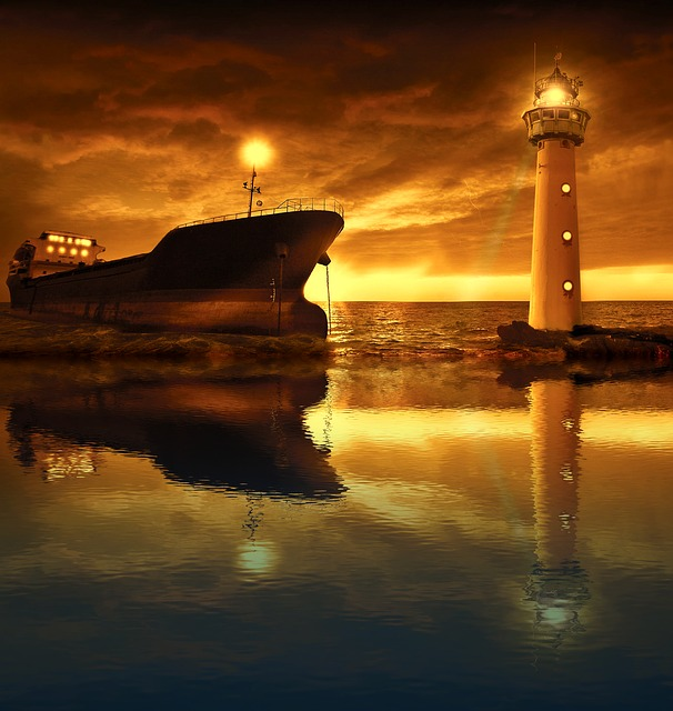 Sea, Ship, Lighthouse, Light, Sunset, Waters, Dawn