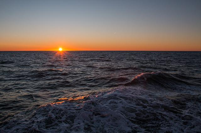 Sunset, Waters, Sea, Sun, Dusk, North Sea