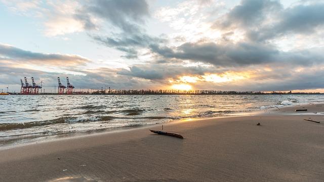 Waters, Sea, Beach, Sand, Sky, Elbe, Hamburg