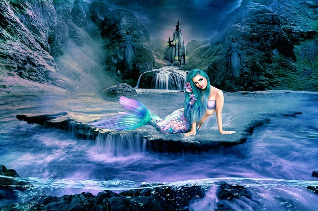 Waters, Nature, Summer, Fairy Tales, Mermaid, Castle