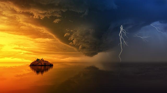 Sunset, Nature, Sky, Dawn, Waters, Thunderstorm