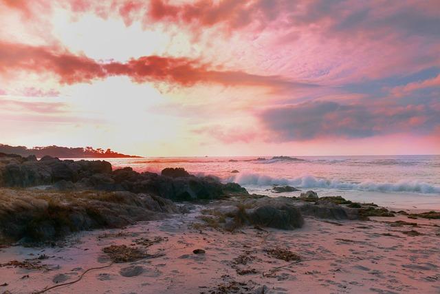 Sunset, Beach, Waters, Sea