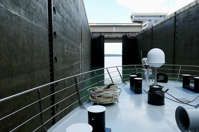Lock, Shipping, Water, River, Waterway, Barrage, Danube