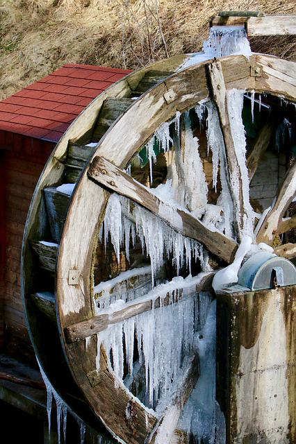 Mill, Waterwheel, Icicle, Winter, Iced