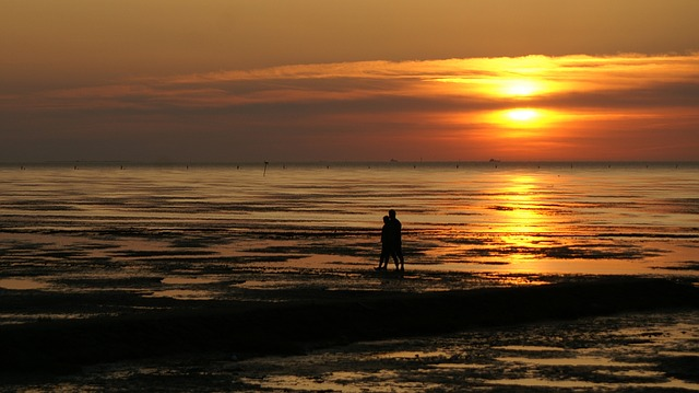 Pair, Beach, Love, Watts, Wadden Sea, North Sea, Sunset