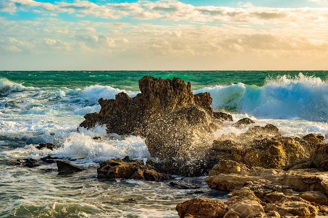 Rocky Coast, Wave, Smashing, Sea, Nature, Landscape