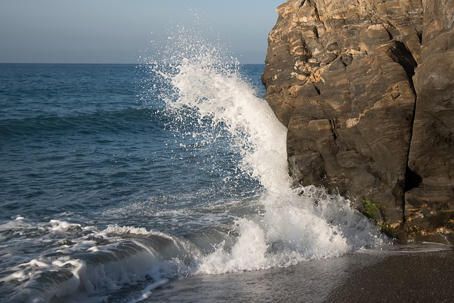 Sea, Wave, Breakwater, Rocks, Foam, Water, Beach