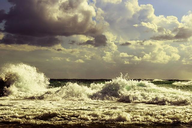 Wave, Crushing, Rocky Coast, Sea, Shore, Autumn, Sky
