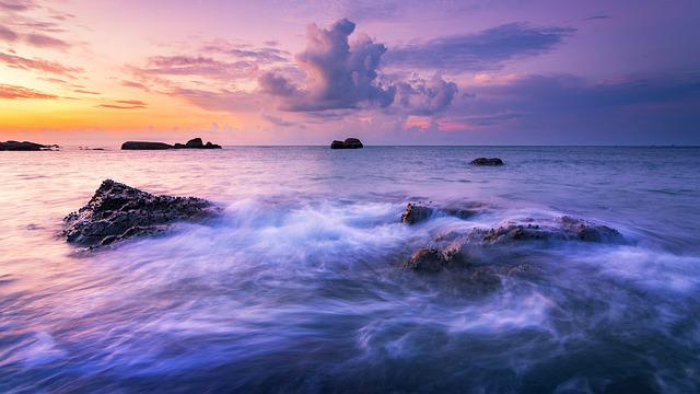 Seascape, Beach, Sunrise, Colorful, Wave, Landscape