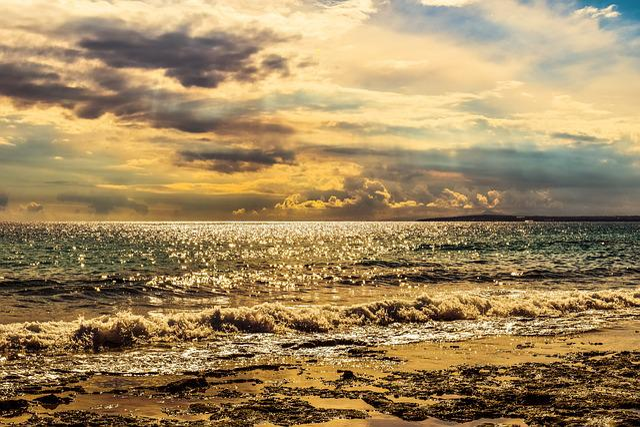 Sea, Sky, Clouds, Afternoon, Scenery, Waves, Sunbeam