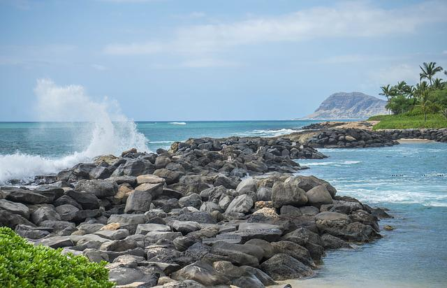 Hawaii, Oahu, Waves, Ko Olina, Lagoon, Rocks, Water