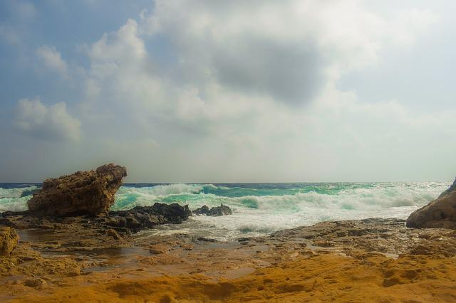Rocky Coast, Waves, Clouds, Stormy Weather, Sea, Nature