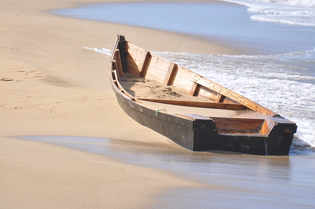 Boat, Wreck, Wooden Boat, Beach, Sea, Waves, Sand