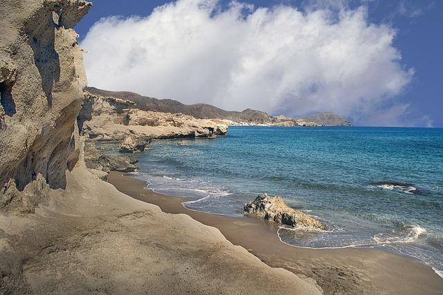Beach, Waves, Sea, Costa, Calm, Sky, Clouds, Rocks