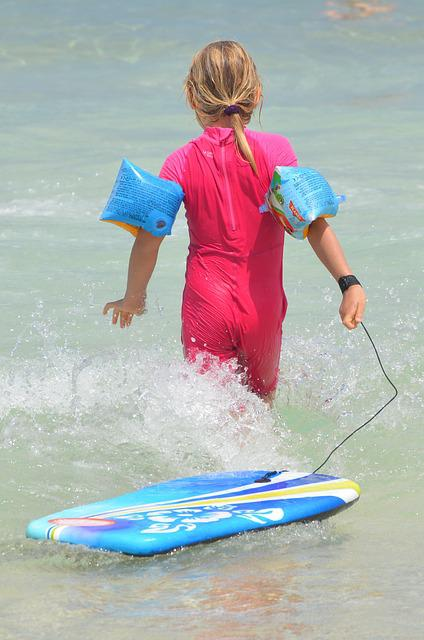 Child, Waves, Surf, People, Rubber Rings