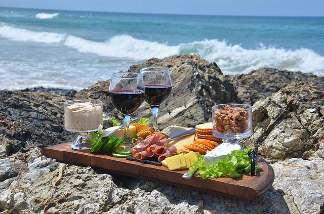 Cheese Platter, Food, Waves, Wine
