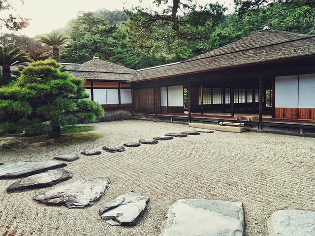 Japanese, Garden, Stones, Path, Way, House, Traditional