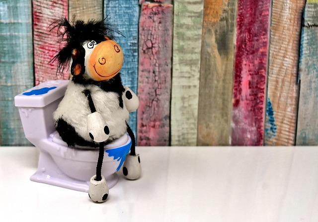 Toilet, Cow, Figure, Loo, Cute, Funny, Wc, Session