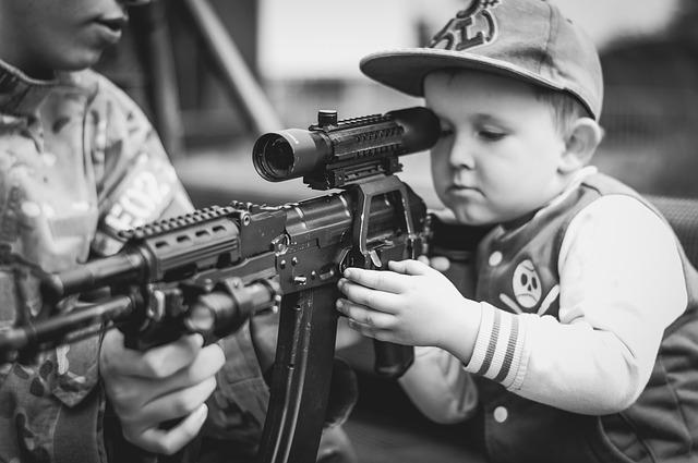 Boy, Child, Portrait, Military, Weapon, Rifle, Shoot