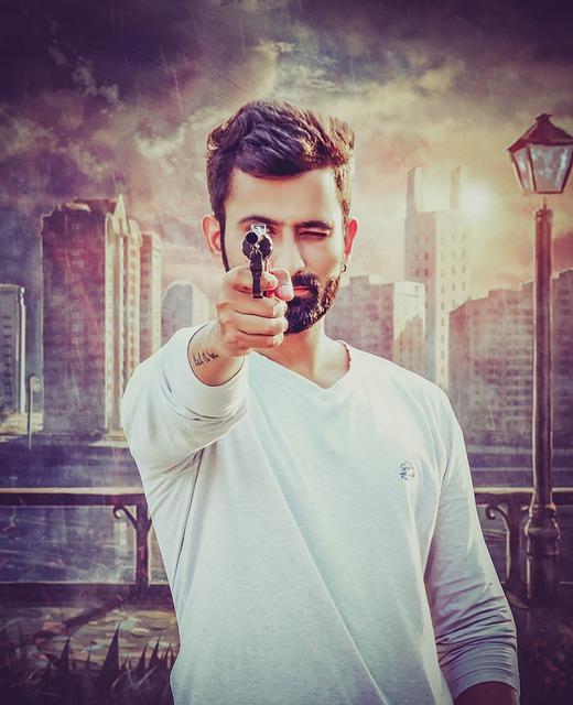 Gun, Gunpoint, Shoot, Fighter, Shooting, Man, Weapon