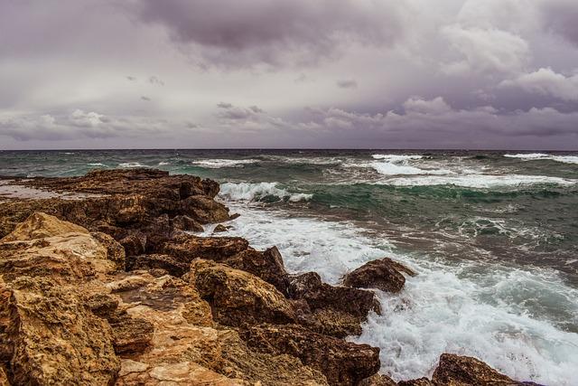 Rocky Coast, Waves, Sea, Sky, Clouds, Stormy, Weather