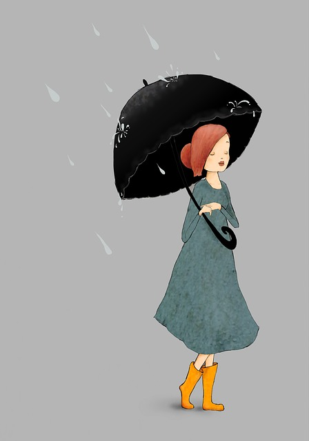 Rain, Girl, Umbrella, Weather, Wet, Fun, People, Female
