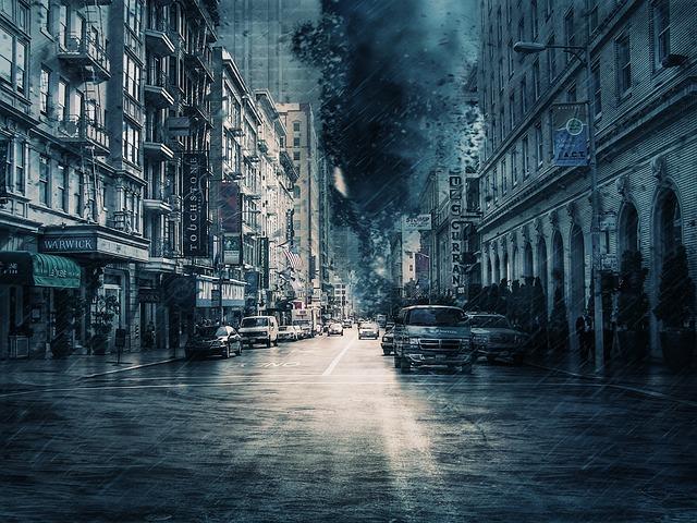 City, Traffic, Storm, Weather, Thunderstorm, Thunder