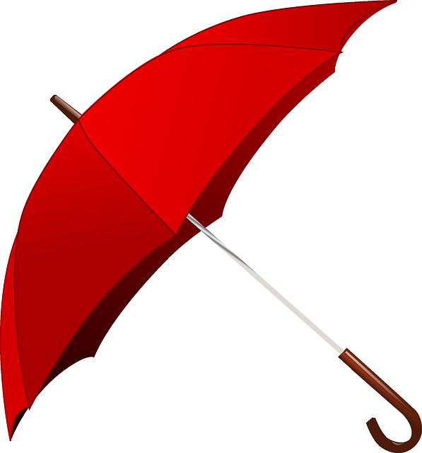 Umbrella, Rain, Red, Weather, Campbellvalley