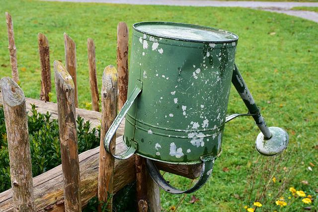 Fence, Garden Fence, Watering Can, Weathered, Old, Pour