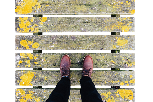 Bridge, Web, Wooden Bridge, Boardwalk, Man, Shoes, Away