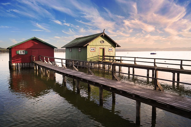 Ammersee, Water, Boat House, Web, Bavaria, Lake, Mood
