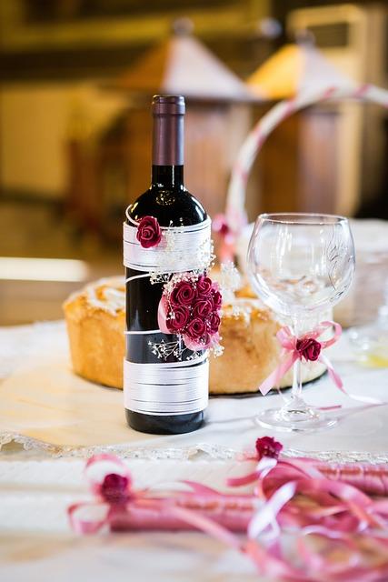 Wedding, Bottle, Wine, Flowers, Cup, Shine
