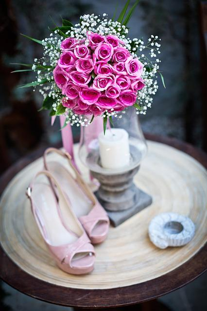 Flower, Wedding, Detail, Bouquet, Shoes, Pink