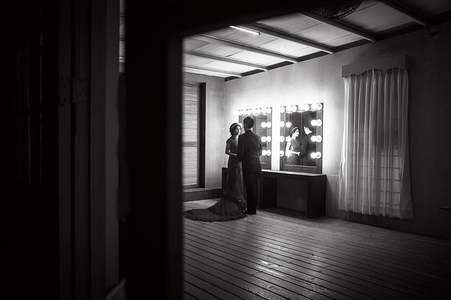 Wedding Dress, Dresser, Black And White Photo