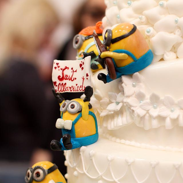 Just Married, Wedding, Marry, Cake, Minions, Caricature